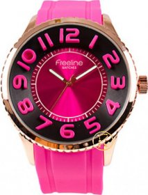 FREELINE Fashion Rose Gold Fuchsia Rubber Strap 8291-3