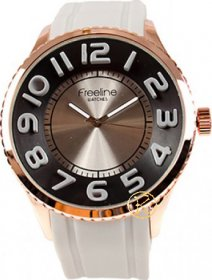 FREELINE Fashion Rose Gold Light Grey Rubber Strap 8291-4
