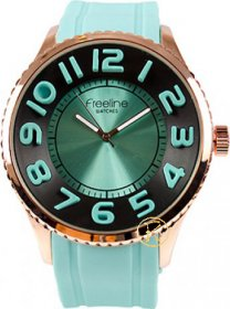 FREELINE Fashion Rose Gold Turquoise Rubber Strap 8291-5