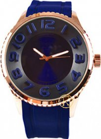 FREELINE Fashion Rose Gold Blue Rubber Strap 8291-7