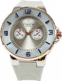 FREELINE Fashion Rose Gold White Rubber Strap 8414-3