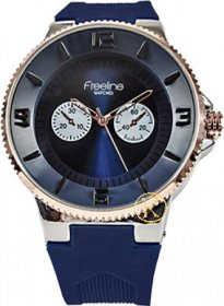 FREELINE Fashion Rose Gold Blue Rubber Strap 8414-7