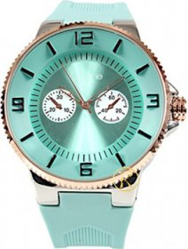 FREELINE Fashion Rose Gold Turquoise Rubber Strap 8414-8