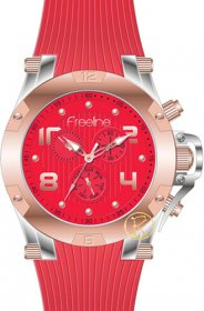 FREELINE Fashion Two Tone Red Rubber Strap 8498-5