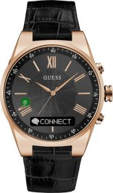 GUESS CONNECT Rose Gold Black Leather Strap C0002MB3
