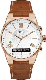 GUESS CONNECT Rose Gold Brown Leather Strap C0002MB4