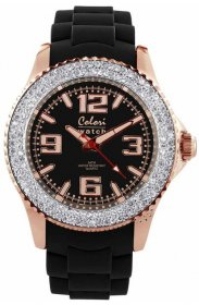 COLORI Large Amazing Rose Gold Crystal Black Silicone Strap COL082
