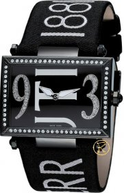 Cerruti Square Lady Crystal Black Dial and Leather Strap CT100202X04