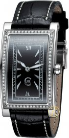 Cerruti Square Lady Crystal Silver Case Black Leather Strap CT100232X03