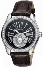 Cerruti Lady Crystal Black Dial and Leather Strap CT100302X02
