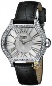 Cerruti Lady Crystal Case White Dial Black Leather Strap CT101072S02