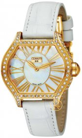 Cerruti Lady Crystal Gold Case White Dial and Leather Strap CT101072S03