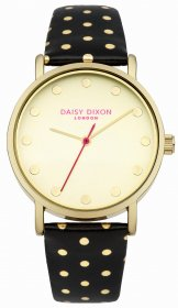 DAISY DIXON Candice Gold Black Leather Strap DD022BG