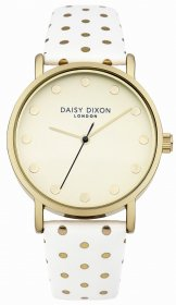 DAISY DIXON Candice Gold White Leather Strap DD022WG