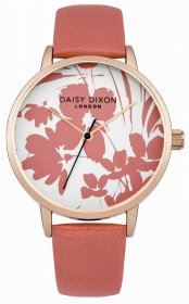 DAISY DIXON Jessica Rose Gold Coral Leather Strap DD023PRG