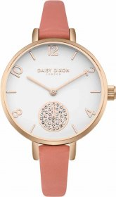 DAISY DIXON Alice Crystals Rose Gold Coral Leather Strap DD075ORG