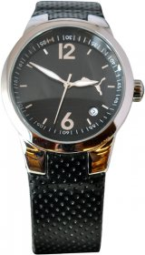 Puma Black Leather Strap PU11472A0025.017