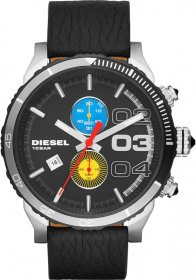 Diesel Double Down Renzo Edition Chrono Black Leather Strap DZ4331