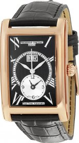 Frederique Constant Dual Time Automatic Rose Gold Black Leather Strap FC-325BS4C24
