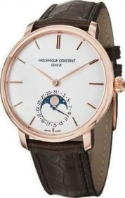 Frederique Constant Slim Line Moonphase Manufacture Automatic Brown Leather Strap FC-705V4S4