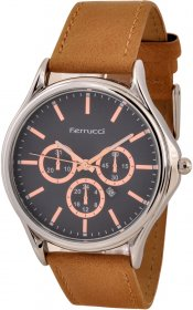 Ferrucci Leather Band Watch With Date FC10221.07