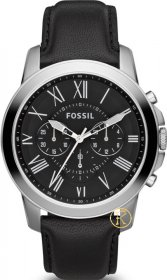FOSSIL Grant Chrono Black Leather Strap FS4812