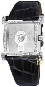 Iceberg Crystals Black Leather Strap IC705-11