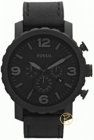 FOSSIL Chronograph Black Leather Strap JR1354