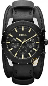 Fossil Men's Keaton Black Leather Quartz Watch Black Dial JR1394