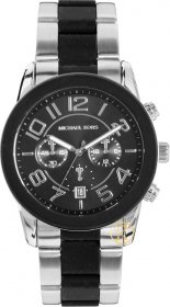 Michael Kors Silver and Black Mercer Watch MK8321