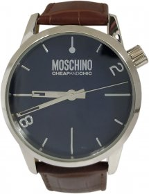Moschino Brown Leather Strap Blue Dial MW0203