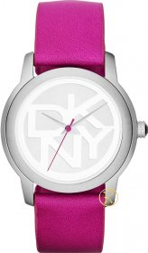 DKNY Silver Tone Fuchsia Leather NY8803