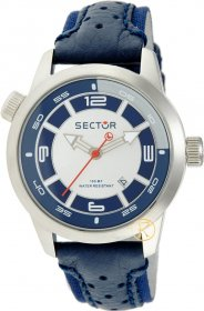 Sector Oversize Blue Leather Strap R3251102215