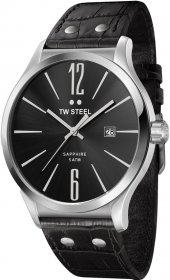 TW STEEL Slim Line Black Leather Strap TW1300