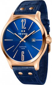 TW STEEL Slim Line Rose Gold Blue Leather Strap TW1305