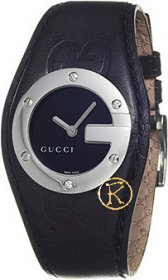 Gucci Stainless Steel Black Leather Strap YA104541
