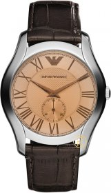 Emporio Armani Men's Classic Brown Beige Stainless Steel Leather Strap Watch AR1704