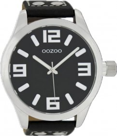OOZOO Large Τimepieces Black Leather Strap C1004
