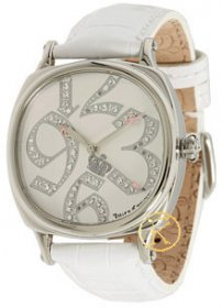 JUICY Prep Silver With Stones And White Leather Strap 1900691