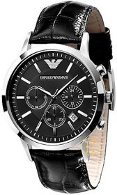 Emporio ARMANI Chronograph Black Leather Strap AR2447