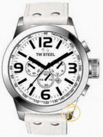 TW STEEL Icon Chronograph Large White Leather Strap TW639