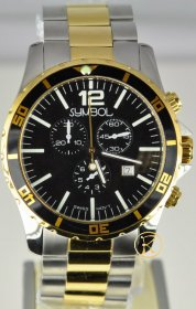 SYMBOL Chronograph Two-Tone Stainless Steel Bracelet SY-9148-GW-B