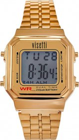 VISETTI Retro V Digital Gold Stainless Steel Bracelet RI-007G