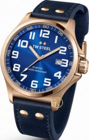 TW STEEL Pilot Rose Gold Blue Leather Strap TW405