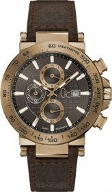 GUESS Collection Brown Leather Chronograph Y37001G5