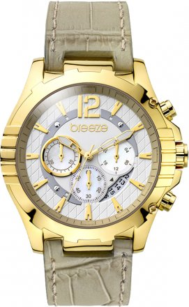 Breeze Sunset Boulevard Chronograph Gold Stainless Steel Leather Strap 110351.6