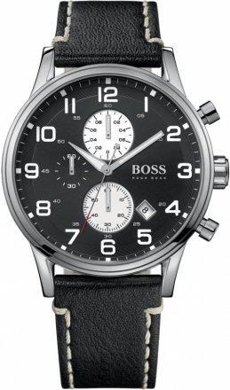 Hugo Boss Chronograph Black Dial Black Leather Watch 1512569