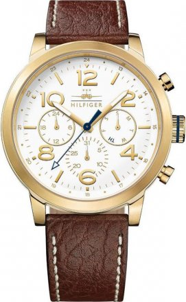 Tommy HILFIGER Jake Multifunction Gold Brown Leather Strap 1791231