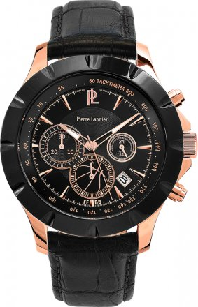 PIERRE LANNIER Special Collection FFBB Black Leather Chronograph 200D033