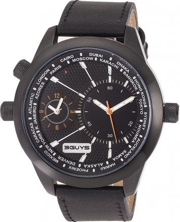 3 Guys Time Black Leather Strap 3G 14525